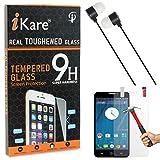 iKare Tempered Glass for Yu Yureka AO5510, Tempered Screen Protector for Yu Yureka AO5510 + Black Stereo Earphone with Mic