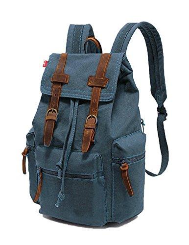 Agent X Canvas Rucksack für Herren Damen Leder Rucksack Rucksack Laptop Tote Satchel Schule Militär Schulter Rucksack Wandern Tasche ABA008 (Collection-leder-satchel)