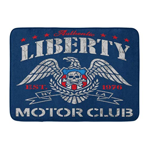 Bad Teppiche Outdoor/Indoor Fußmatte American Liberty Eagle Motor Club Grafik Americana Flagge Schädel Patch Badezimmer Dekor Teppich Badematte ()