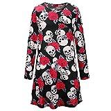 Oipdso Vestido de Fiesta con Estampado de Calavera Vintage Esqueleto y Rosa de Halloween para Mujer (Tamaño : S)