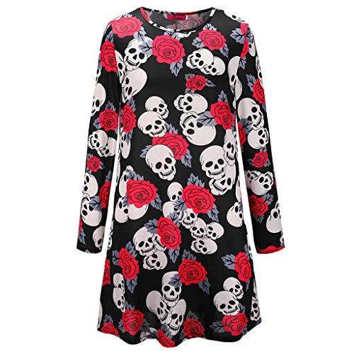 Tao Vestido de Fiesta con Estampado de Calavera Vintage Esqueleto y Rosa de Halloween para Mujer (Tamaño : S)
