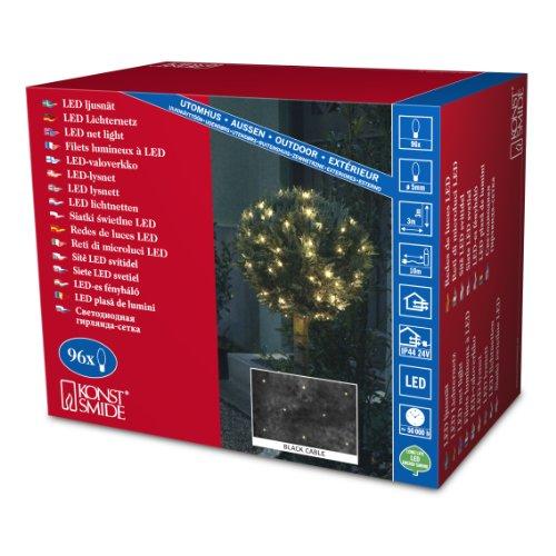 Konstsmide 3757-100 LED Lichternetz/für Außen (IP44) / 24V Außentrafo / 96 bunte Dioden/schwarzes Kabel