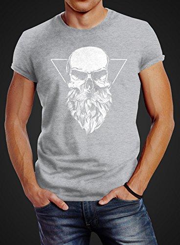 Herren T-Shirt Totenkopf mit Bart Triangle Slim Fit Neverless® Totenkopf mit Bart grau
