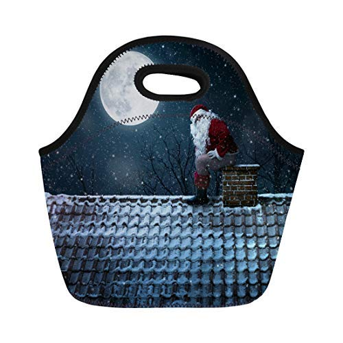 Lunch Bag Tote Boxes Bags Lunch Box Red Roof Funny Mean Santa Claus Using Chimney As Neoprene Lunch Tote Bag Portable Picnic Bag Cooler Bag -
