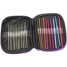 Curtzy Ensemble 22 Crochets en Acier & Aluminium – Kit de Crochets dans un Étui de Rangement Violet