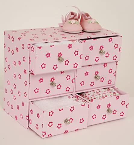 Pink Mini Chest of Drawers for Dolls and Bears Accessories.