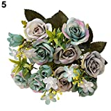 1 Bouquet 15 Heads European Style Artificial Royal Rose Home Room Decor Flowers - Grey Blue Amesii