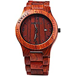 BEWELL Wood Men Watch Analog Quartz Movement Date Display(red sandalwood )