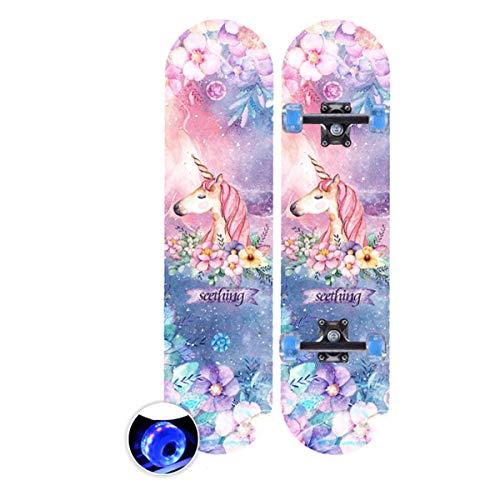 rd Komplett Longboard Double Kick Skateboard Cruiser 8 Lagen Ahorn Deck für Extremsport und Outdoor, 2,60cm ()
