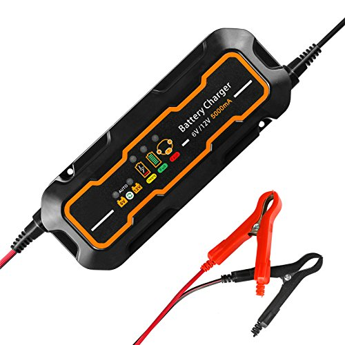 6V/12V Batterie Ladegerät Auto KFZ,GOGOLO 5A Automatisch Batterieladegeräte Batterie Betreuer Schnellladegerät Für Auto Motorrad Blei-Säure Batterien (Batterie Betreuer)