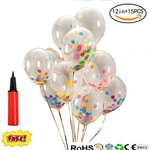 WYCY 12 Inch Surtido de Colores Confeti Transparente El Globo (Bomba de Entrega Gratuita) 15 Piezas de Globos de látex para la Fiesta de cumpleaños de la Fiesta de Navidad (12in)