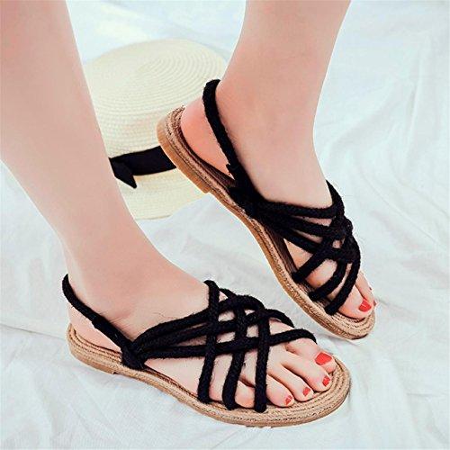 LHWY Damen Retro Damen Handmade Hanf Knitting shoes Strand Grass Sandalen Black