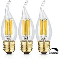 TAMAYKIM C35 6W Dimmerabile Filamento Lampadina LED Candela - 2700K Bianco Caldo 600 lumen - 6W equivalente a 60W - Attacco E27 - Fiamma Forma - 360° Angolazione Fascio Luce - 3 Pezzi