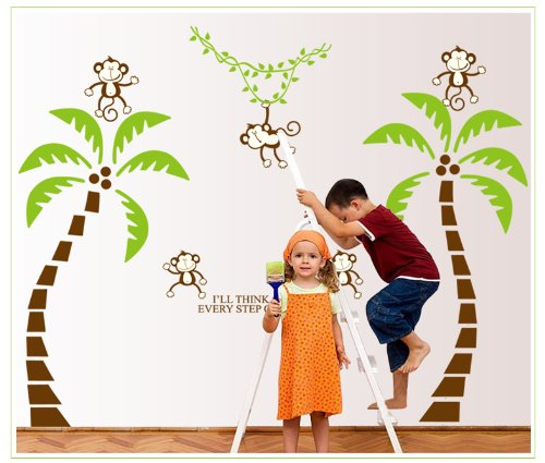 Dokfh Kokospalmen im Affen Kreative Animation Cartoon Schule Kindergarten Kinderzimmer schmückt eine Wandaufkleber
