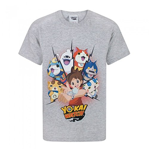 Yo-Kai Watch Camiseta de Manga Corta Oficial Modelo Nate Para Niños (Años (3-4)/Gris Claro)