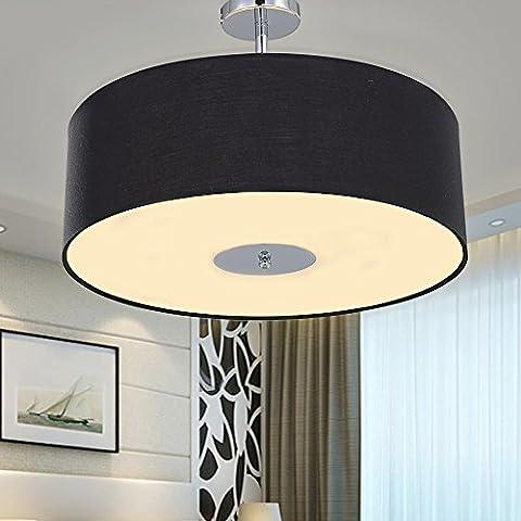 SPARKSOR Ceiling Light in Chrome matt, Fabric Drum Shade Gray Pendant Light for living room Bedroom Kitchen Dining room Warm white Ø47xH33.5cm 3xE27