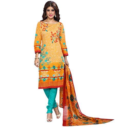 Siddeshwary Fab Yellow Printed Designer Salwar suit Dress Mateial