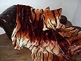 3tlg. Set Kuscheldecke Tagesdecke Tiger-Look 160x200cm + 2 Kissen 40x40cm