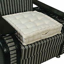 Homescapes Cojín elevador para sillón, relleno de poliéster y tapizado en 100% algodón, 50 x 50 x 10 cm Color Crema
