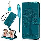 BADALink Hülle für Huawei P10 Lite Blau Eule Handyhülle Leder PU Case Cover Magnet Flip Case Schutzhülle Kartensteckplätzen u