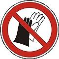 Verbotszeichen - Schutzhandschuhe tragen verboten - Ø 100 mm - 50 Verbotsschilder aus Polypropylen Folie, weiß (Aufdruckfarbe: schwarz/rot), permanent haftend