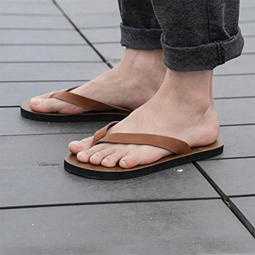 Zhhlinyuan Beach Comfortable Flat Sandals Mens Simple Non-slip Flip Flop Shoe Brown