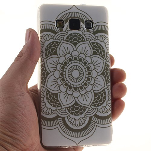 Samsung Galaxy A3(2015) hülle MCHSHOP Ultra Slim Skin Gel TPU hülle weiche Silicone Silikon Schutzhülle Case für Samsung Galaxy A3 - 1 Kostenlose Stylus (Lovely Panda) Totem of Big Flower in White