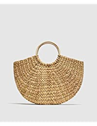 L'Bohe Straw-dry Grass/Natural Cane/Cotton Canvas/Handbag-Shopping Bag-Market Bag - Straw Beach Bag Tote - Semi...