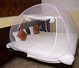 Styleys Mosquito Net Double Bed Foldable Kingsize with Soft Mesh and 2 Side Zipper Opening Doors Color Pink (200x200cm)