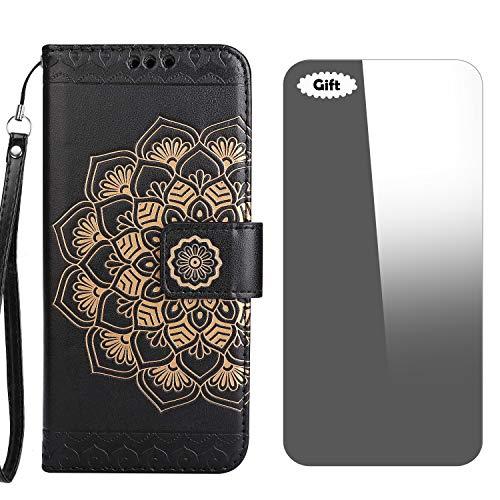 Conber Funda iPhone 5 / 5s / SE, Funda de Cuero con [Protector de Pantalla Gratis], Shock Absorción y Función de Kickstand Serie La Flor para Apple iPhone 5/5s/SE - Negro