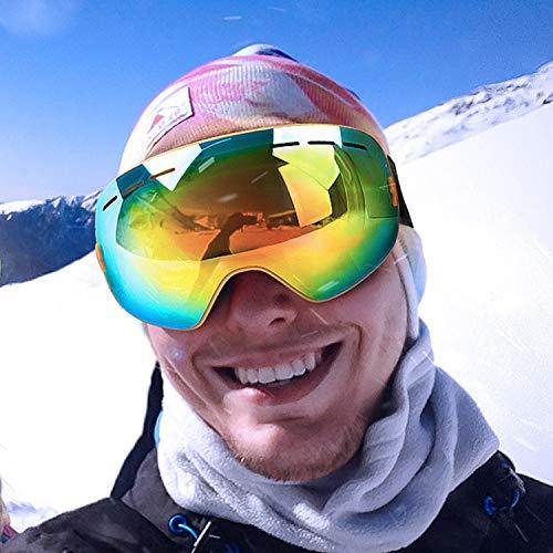 JEEZAO Maschere da Sci,Vento Antiappannamente per Adulto,Protezione UV,Alpinismo,Paracadutismo Custodia OTG Occhiali da Sci,Uomo e Donna (Giallo)