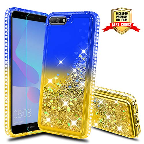 Atump Case for Huawei Y6 2018 Phone Cases with Screen Protector, Girl 3D Glitter Liquid Cute Clear Transparent Silicone Gel TPU Shockproof Phone Cover Cases for Huawei Y6 2018 Blue/Yellow
