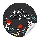 24 Aufkleber Schön, dass du da bist ♥ SCHWARZ im Vintage Blumen Design, matte Papieraufkleber für Gastgeschenke, Etiketten für Tischdeko auf der Hochzeit, Taufe, Geburtstag oder einer anderen Feier