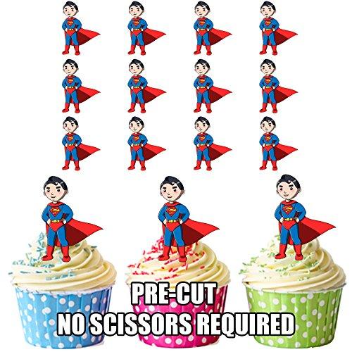 vorgeschnittenen Cartoon Superman/Superheld/– Essbare Cupcake Topper/Kuchen Dekorationen (12Stück)