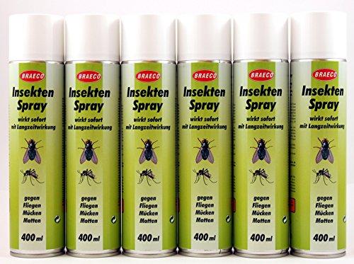 Insektenspray je 400ml (EUR 5,41/Liter) von BRAECO gegen Fliegen, Mücken und Motten Insektenabwehr Mückenspray (12 Flaschen)
