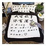 CSYPYLE Bettwäsche Set Heimtextilien Kreative Chinesische Schriftzeichen Englisch Alphabet Muster Weiche Bequeme Bettbezug Bettlaken Schlafzimmer Bettwäsche Kit, 1,2 Mt