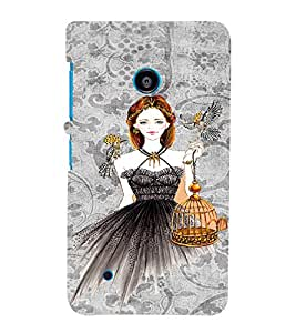PrintVisa Fashion Bird Girl Dress Design 3D Hard Polycarbonate Designer Back Case Cover for Nokia Lumia 530