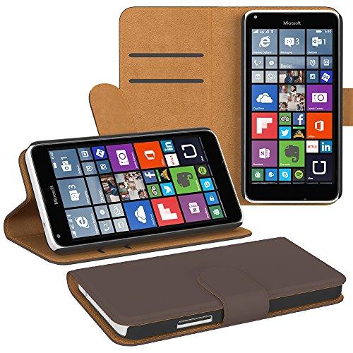 PREMIUM - Book-Style Case für - Nokia Lumia 640 Dual Sim - Wallet Case Flip Cover Hüllen Schutzhülle Etui Hülle mit Standfunktion Braun