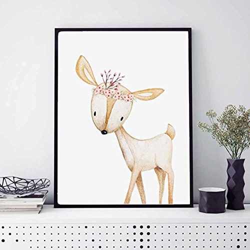 ZHOUBA Cute Deer von Leinwand-Gemälde Kinder-Zimmer, Wandbild, Deko-ohne-Rahmen, canvas, multi, 40cm x 50cm