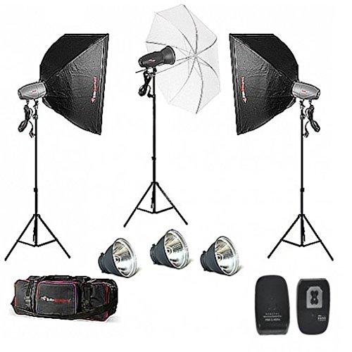 FotoQuantum Studio Blitz Set FQM-500/500/250 Plus (Bowens Fassung) mit Softboxen & Durchlichtschirm & Ausloser FQM-816TX & Studiotasche XL