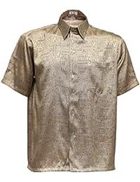 ... polos y camisas   Camisas   Dorado. Thai Silk Camisa Casual - Paisley -  con Botones - para Hombre a3f88b49c9484