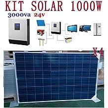 Kit Solar 1000w hora 5000w dia 24v Fotovoltaica 4 paneles 250w Inversor 3kva(2400w) Regulador 50a cargador 30a