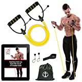 Anchor Workout Toning Heavy Fitness Tube Resistance Bands Cord for Exercise Fitness Pilates Strength Training Yoga Physio Crossfit with Foam Handles - Free Door Anchor and Carry bag. A Complete Home Gym (Yellow Light)