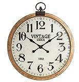 Grande orologio da parete in legno - A forma di orologio da taschino - Colore: MARRONE