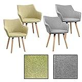 ESTEXO 2/4/6/8x Retro - Esszimmerstuhl Tomke, Stühle, Stuhl, Küchenstuhl, Esszimmerstühle, Grau, Grün (2 Stück, Grau)