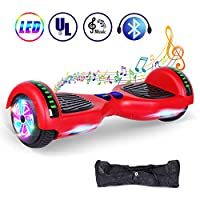 """Jolege Hover board 6.5"""" Wheel Electric Self Balancing Scooters with Colorful LED Light and Built-in Bluetooth Speaker - UL2272 Certified Free Carry Bag and UK Charger - Red"""