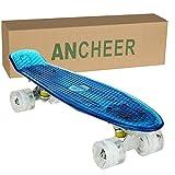 Ancheer Mini-Cruiser-Skateboard 55cm Skateboard mit oder ohne LED Deck,alle mit LED Leuchtrollen,mit USB Kabel aufzuladen,Farbe:Deck in Blau mit LED / Rollen in Weiß mit LED