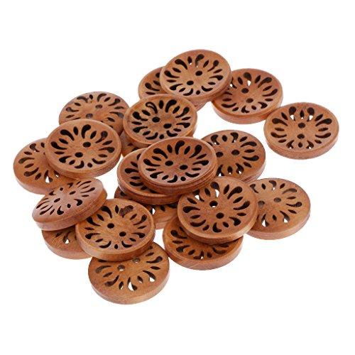 perfk 20 Stück Vintage Holzknöpfe, Holz Knöpfe, Holzknöpfe, Kleine Holzknöpfe zum Nähen Scrapbooking und DIY Craft - Braun Blume, 23mm -