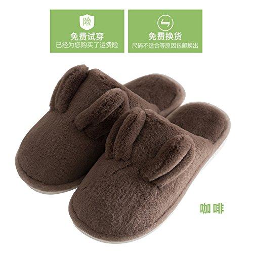 Cotone fankou pantofole femmina cashmere plus home indoor base morbida giovane home care scarpe non - slittamento di spessore uomo autunno inverno Grau