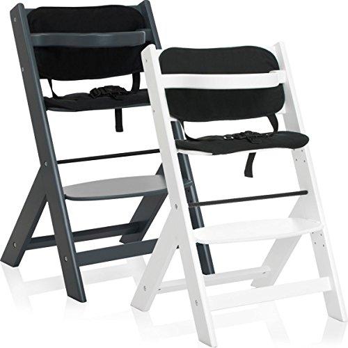 Hochstuhl / Kinderhochstuhl / Treppenhochstuhl aus (BUCHE-MASSIVHOLZ) mit Sitzkissen (DUNKELGRAU)